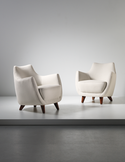 firstclass modern armchair. PHILLIPS  UK050114 Gio Ponti Pair of armchairs designed for the First Class