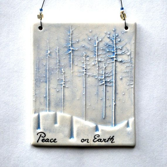 Gifts for friends! Small Ceramic Wall Hanging Ornament Peace On Earth by…
