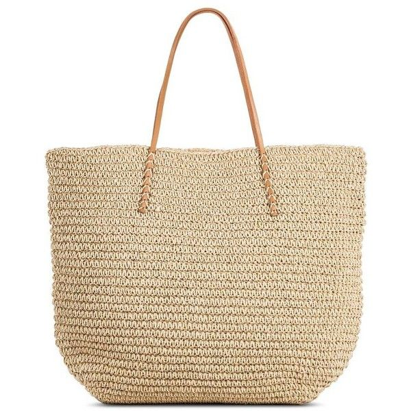 Women's Solid Packable Straw Tote Natural (67.160 COP) ❤ liked on Polyvore featuring bags, handbags, tote bags, accessories, polka dot tote, handbags purses, tote handbags, beach tote and travel tote