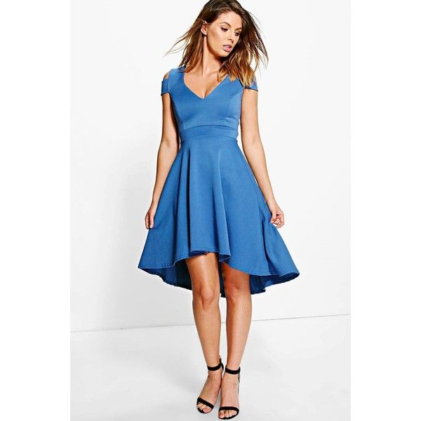 00f427f3d340 Boohoo Night Clea Bardot Strap Plunge High Low Skater Dress ($35) ❤ liked on