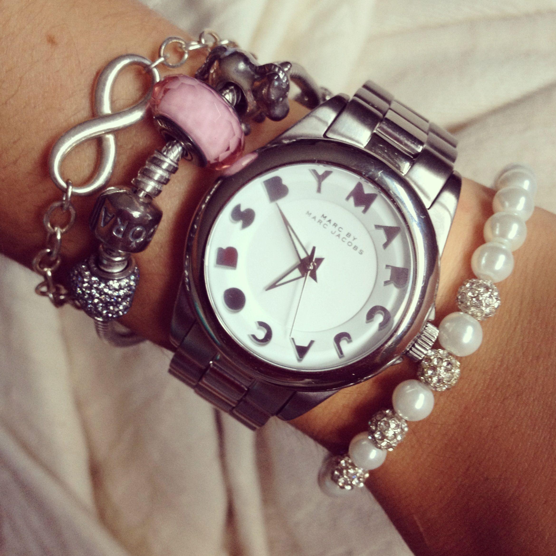 Marc Jacobs watch with Tiffany and Pandora bracelets