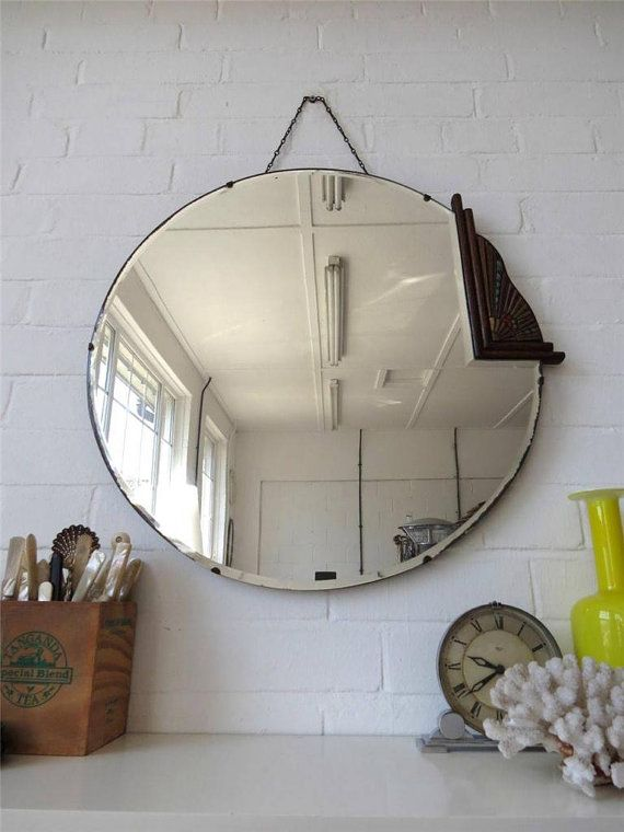 Vintage Extra Large Round Art Deco Bevelled Edge Wall Mirror With Wooden Detail Art Deco Mirror Round Art Vintage Mirrors