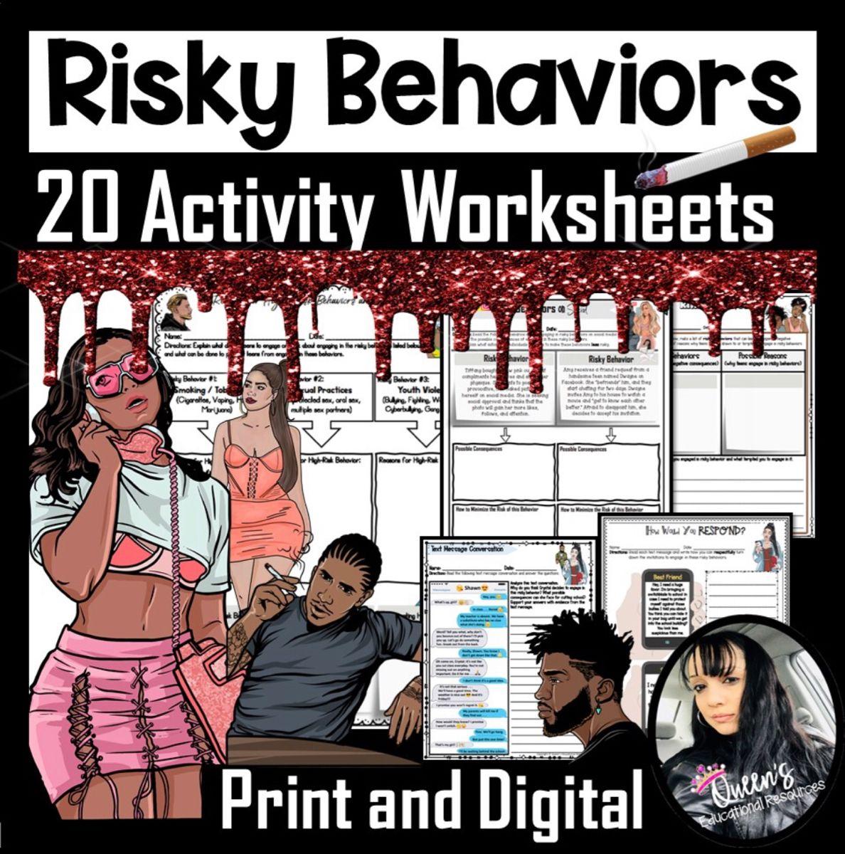 Risky Behaviors Activity Worksheets And Answer Keys Print