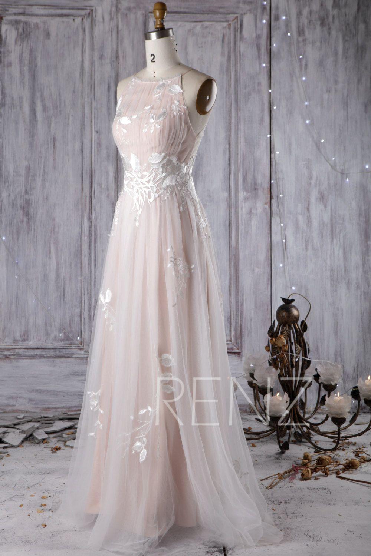 Wedding Dress Off White Bridal Dress Peachy Beige lining Maxi