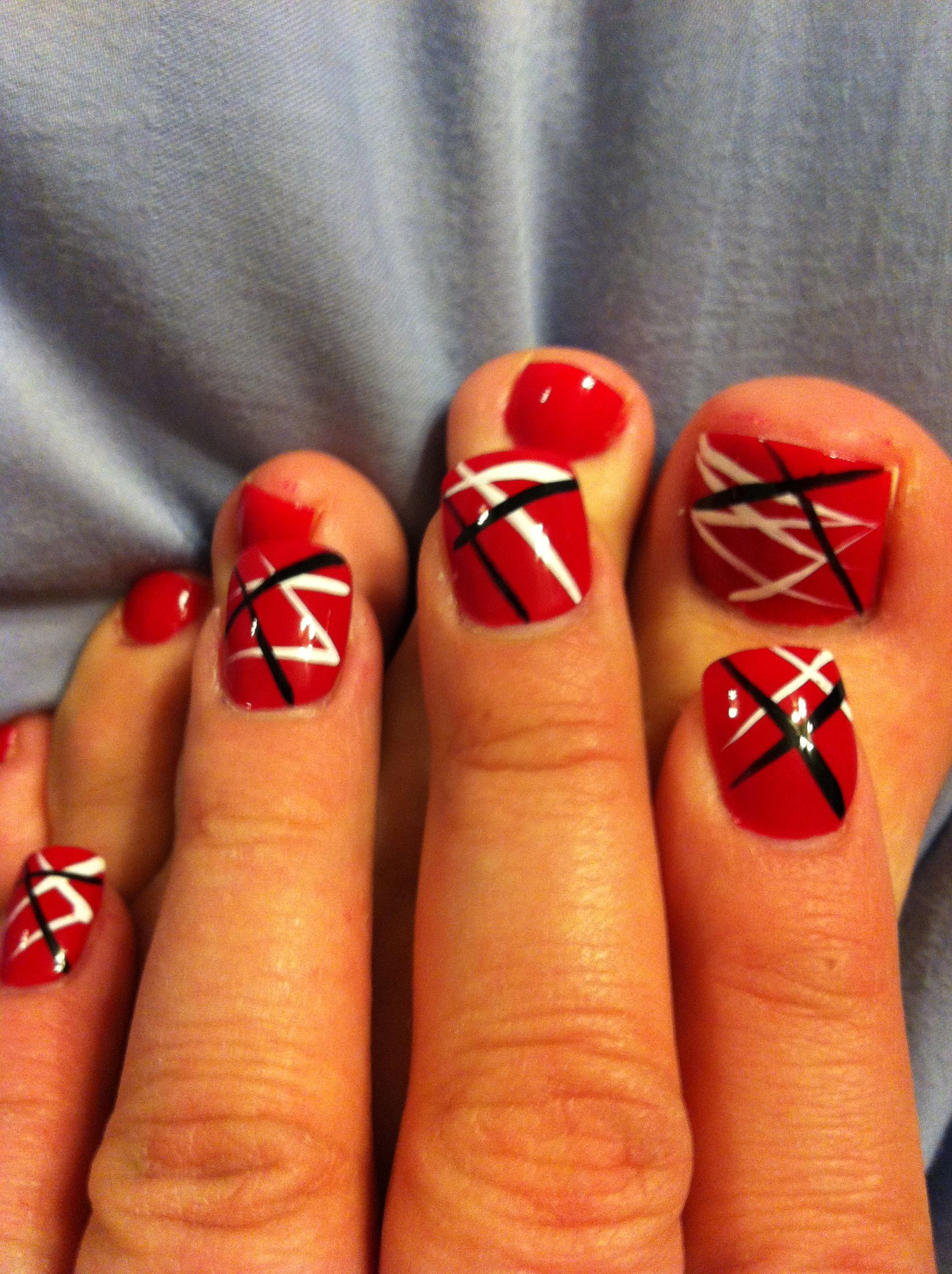 Eddie Van Halen Inspired Mani Pedi Must Have For The Concert Pedicure Nail Art Black Toe Nails Pretty Nail Colors