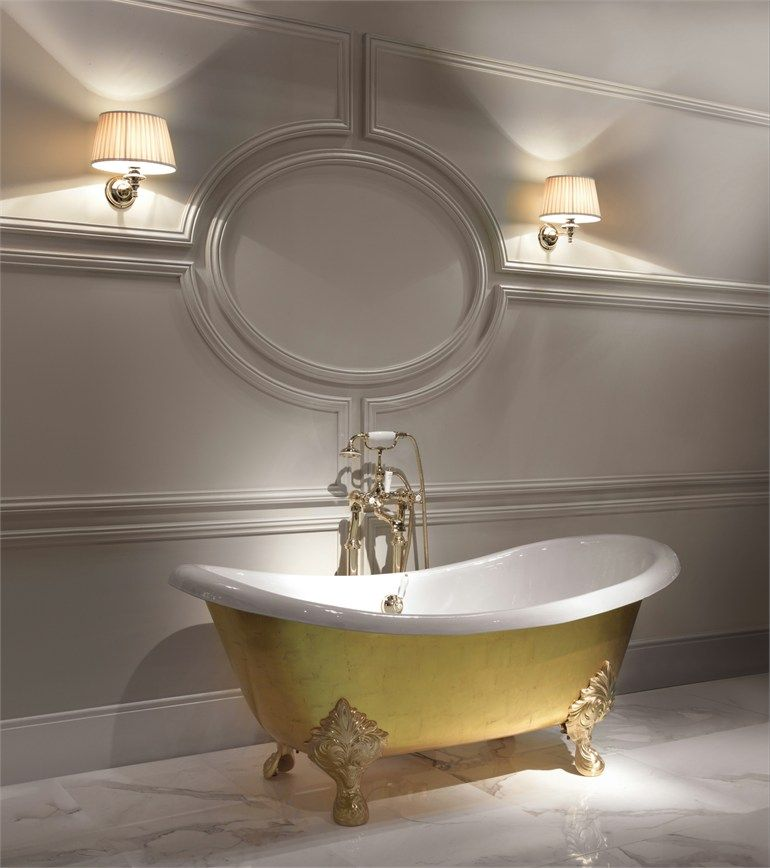 Gold leaf bathtub MIDA by Devon #bathroom #gold