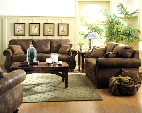 Westwood Traditional Rustic Microfiber Sofa Couch Set Living Room Furniture