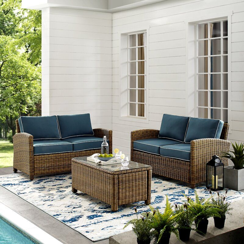 Lawson 3 Piece Rattan Sofa Seating Group With Cushions In 2020 Outdoor Loveseat Patio Loveseat Outdoor Furniture Sets