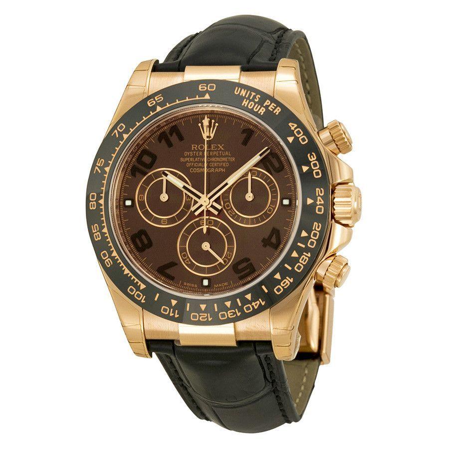 Rolex daytona cosmograph everose leather strap watch choal