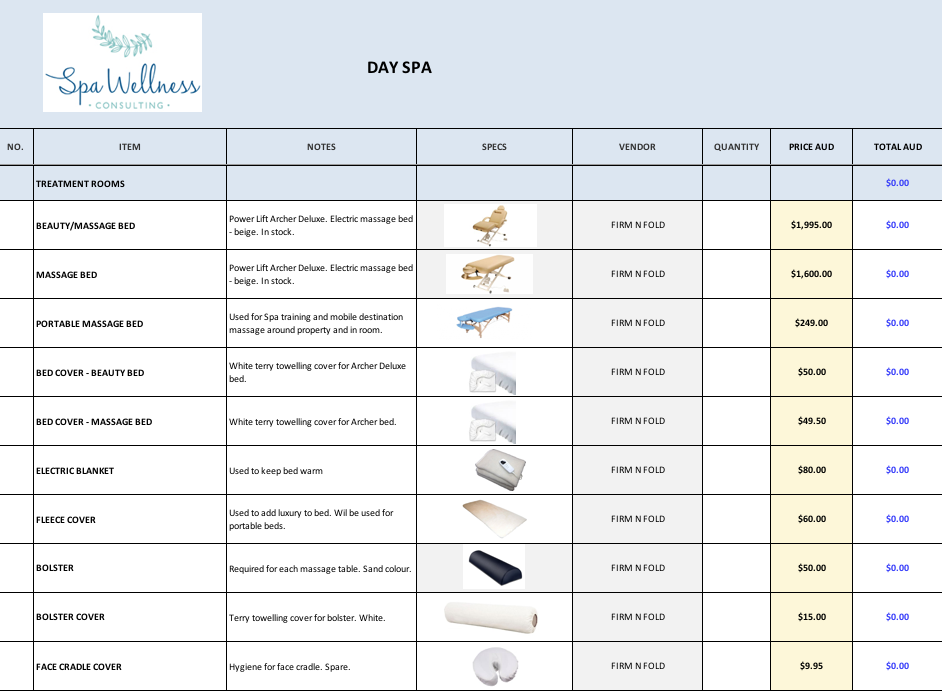 Operational Supplies & Equipment List Spa items, Spa day