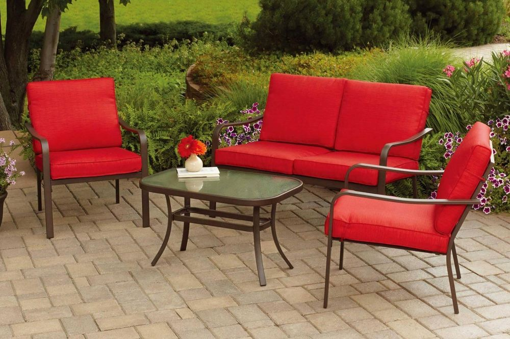 Red Cushioned Patio Conversation Set Outdoor Loveseat And Chair Glass Tab Outdoor Patio Furniture Sets Patio Furniture Conversation Sets Conversation Set Patio