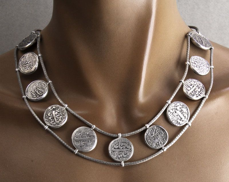 Necklace made from 11 silver coins from the era of Shah Jahan (the Taj Mahal builder). Nishedha Designs.