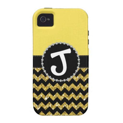 Yellow Half Glitter Chevron, Diamond iPhone 4