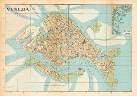 Mappa Di Venezia (Venice Map)   Vintage Style Italian Map Poster Posters At  AllPosters.com