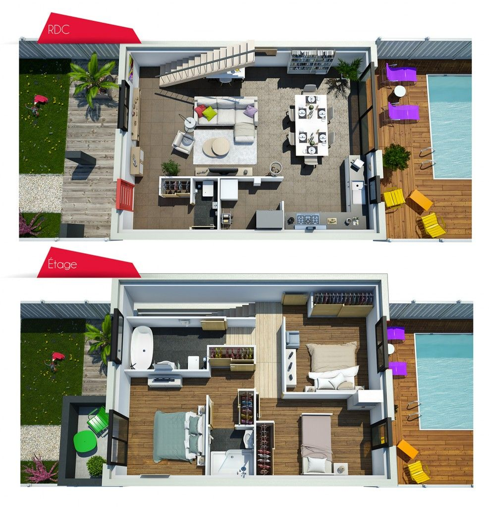Villa sor n surface 100m2 maison tage pinterest for Maison moderne 90m2