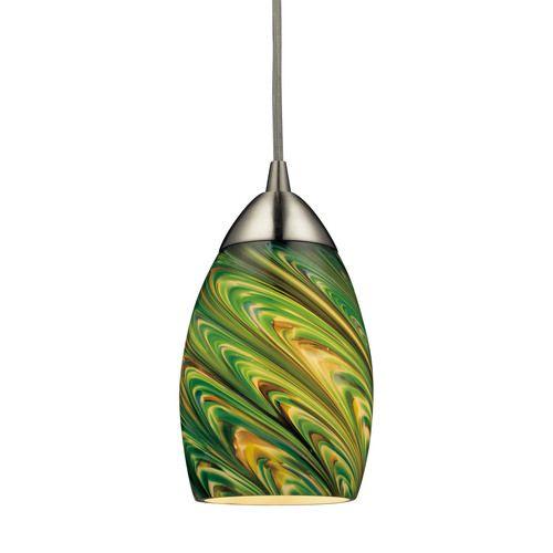 10089/1EVG-LED | Mini Vortex 1 Light LED Pendant In Satin Nickel And Evergreen Glass - 10089/1EVG-LED