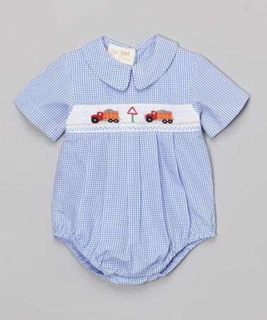 0a763615d Loving this Blue Gingham Dump Truck Bubble Romper - Infant on #zulily! # zulilyfinds