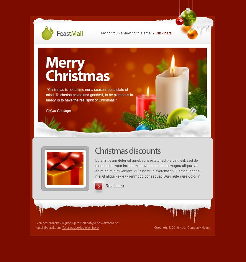 Feastmail  Christmas And Corporate Email Template  Design  Such
