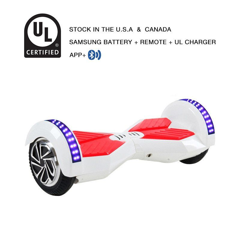 8 Inch App Smart Balance Wheel Bluetooth Hoverboard White Red With