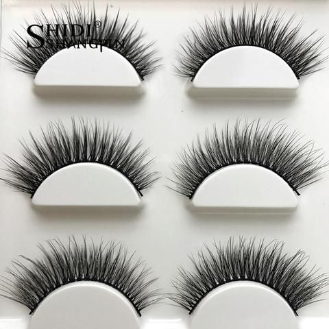 2972824d2c5 SHIDISHANGPIN 3 pairs Natural 3D Mink Lashes Wispy Handmade Eyelashes Makeup  False Eyelash Mink Eyelashes For Beauty X11