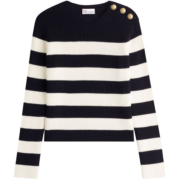 RED Valentino Wool Pullover ($385) ❤ liked on Polyvore featuring tops, sweaters, stripes, slim fit sweaters, white striped sweater, stripe sweater, striped pullover and round neck sweater