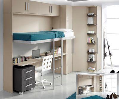 Dormitorios juveniles modernos peque os espacios pieza for Dormitorios pequenos juveniles