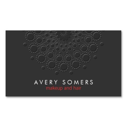 Makeup Artist Cool Faux Embossed Black Business Card Template
