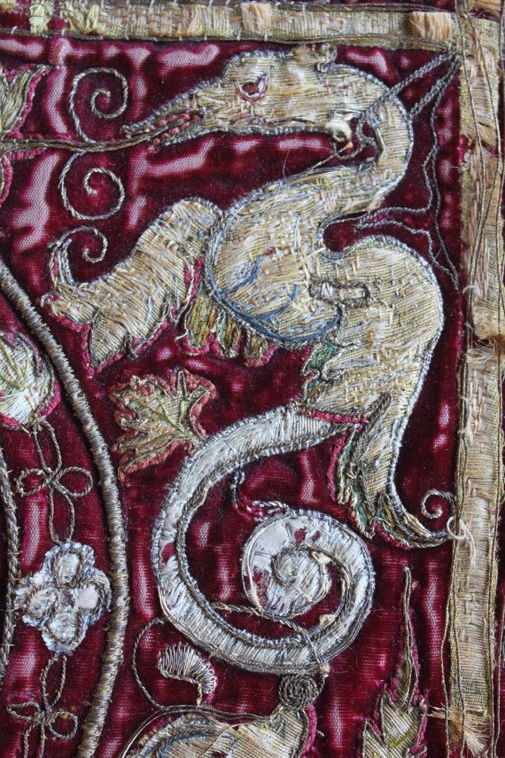 17th or earlier Italian Metallic Embroidered and by Trouvais