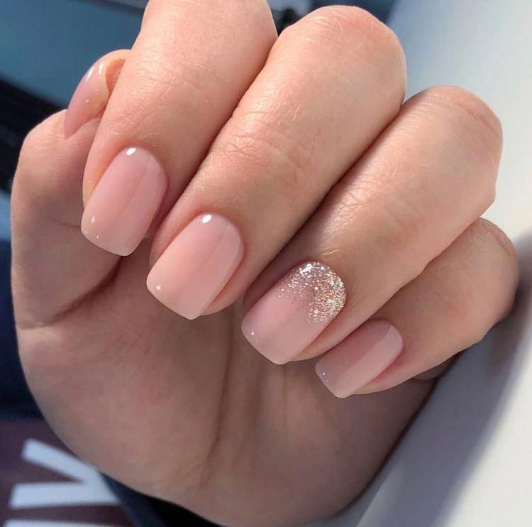 Nails Pink Nails Natural Nails Solid Color Nails Acrylic Nails Cute Nails Wedding Nails Sparkling Glitter Brida Bride Nails Solid Color Nails Pink Nails