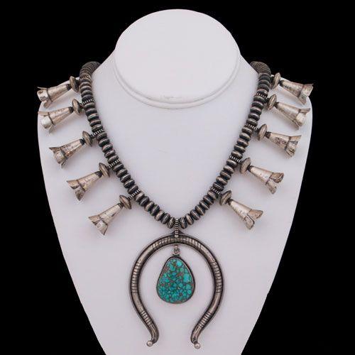 Navajo Sterling Silver Carico Lake Turquoise Squash Blossom Necklace - Delbert Clark (#37)