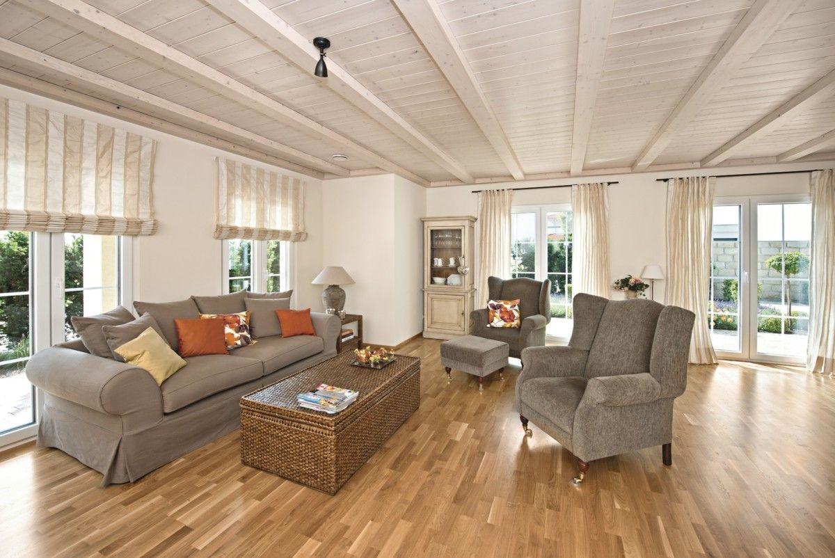 wohnzimmer ideen mit deckenbalken - wohndesign -
