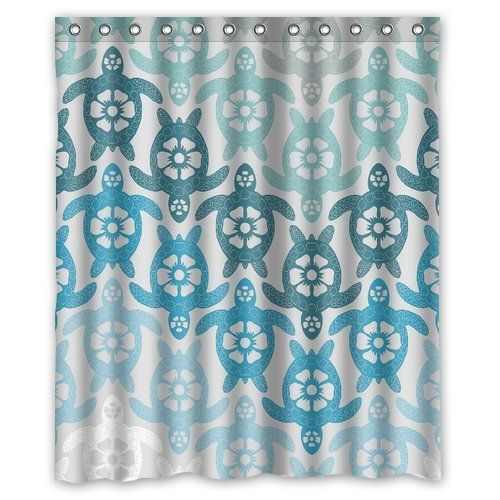 Custom Summer Beach Hawaii Sea Turtle Shower Curtain Bathroom Home Decor 60 X 72