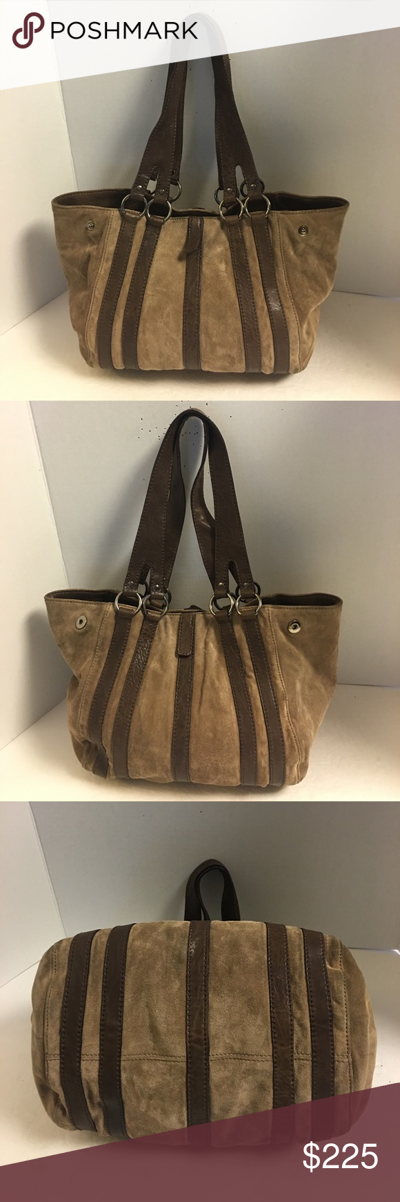 Miu miu Brown suede and leather tote shoulder bag Nice gently used miu miu  Prada chocolate brown suede shoulder bag with brown leather trim and straps. 7f8ad5f9c6a7d