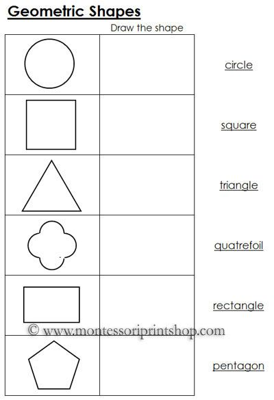 geometric shapes worksheets 10 commandments shapes worksheets montessori math geometry. Black Bedroom Furniture Sets. Home Design Ideas