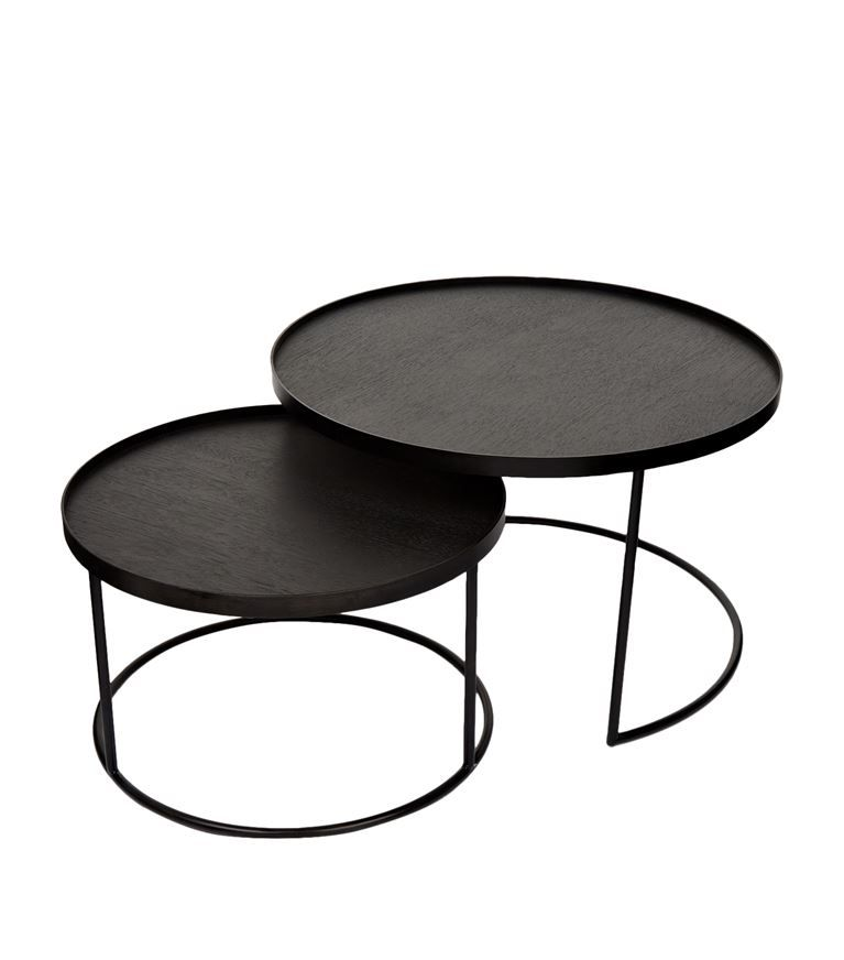 Brilliant Round Tray Tables Set Of 2 In 2019 Mid Century Coffee Pabps2019 Chair Design Images Pabps2019Com