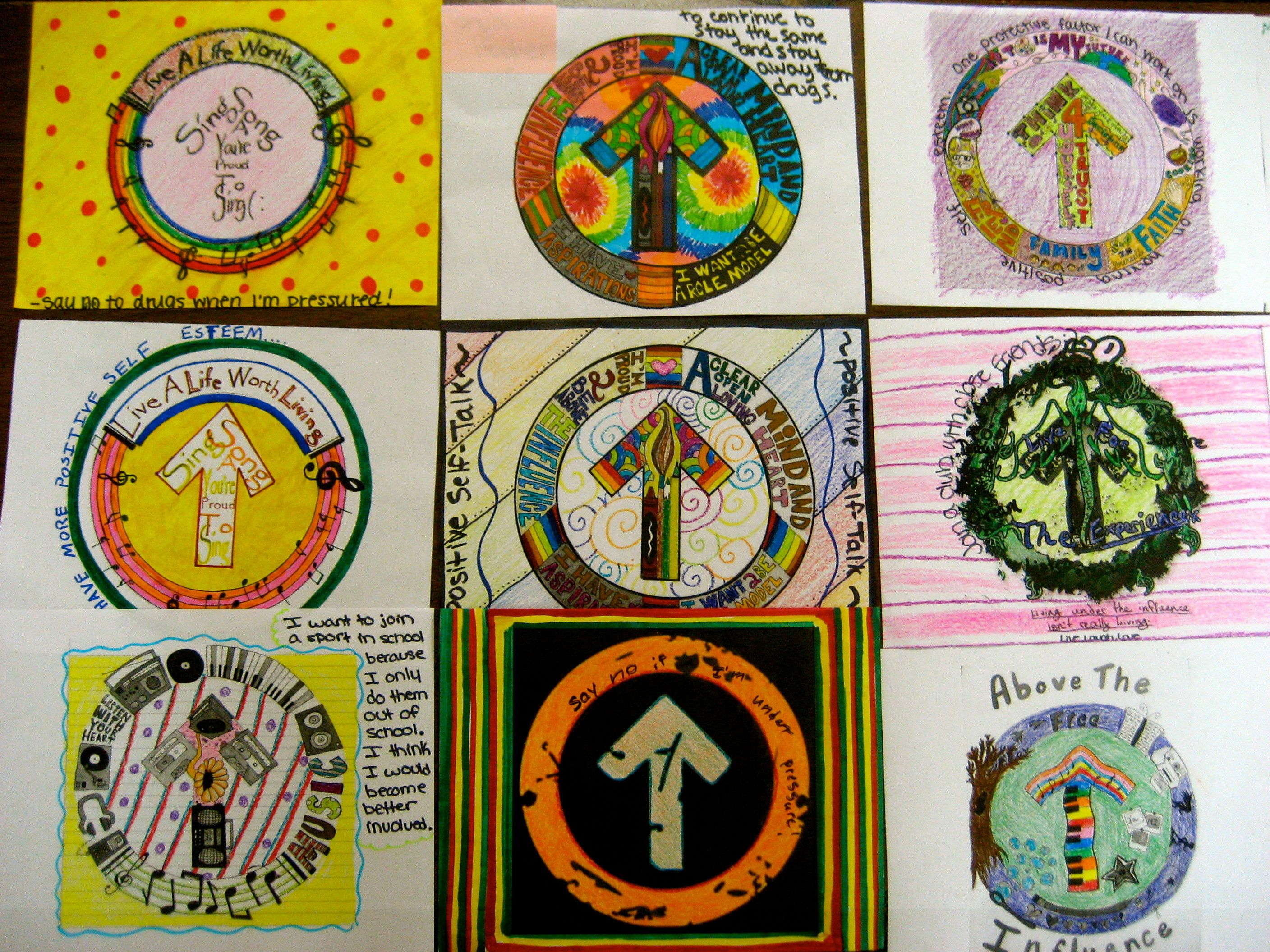 "I printed these from this awesome website http://www.abovetheinfluence.com  in black and white and my students colored them and added how they have overcome risk factors that lead to addiction in my Drug Unit (This pin is linked to my Drug Unit, which costs 26.00)  They turned out so cool.  To see more art projects see my ""Awesome Art Projects for Teens"" at:  http://pinterest.com/mrsstpt/awesome-art-projects-that-inspire-teens-to-be-heal/"