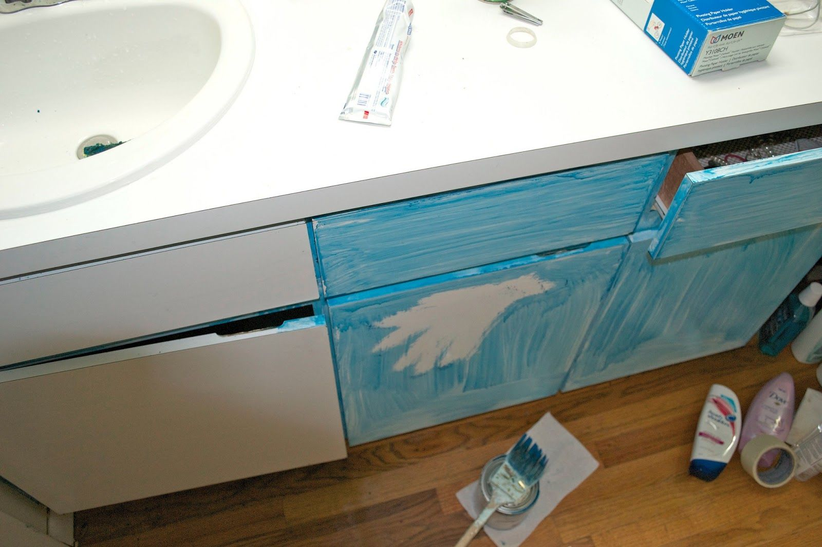 Seesaws And Sawhorses Painting A Laminate Vanity Bathroom - Painting bathroom vanity laminate