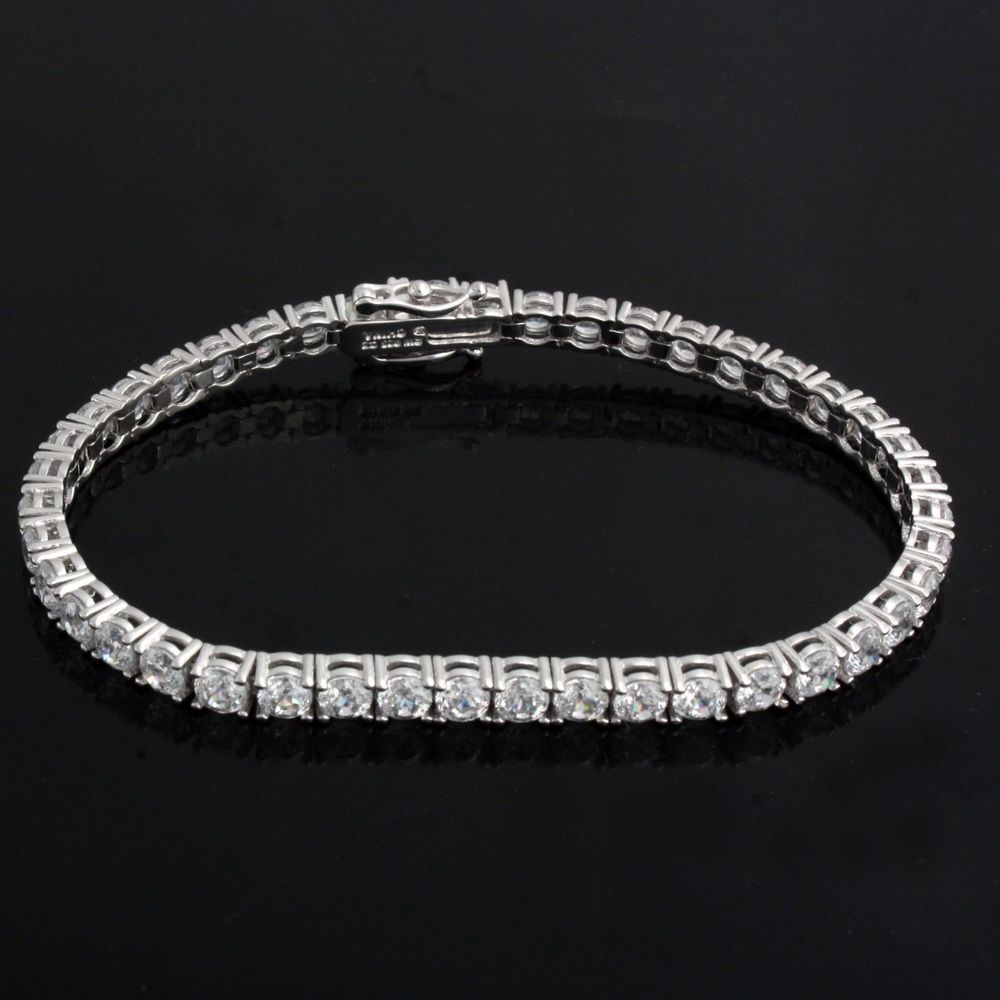 Women S 14k White Gold Over 3 1 2 Ct Diamond S Link Tennis Bracelet 7 Inches Aonebianco Tennis Bracelets For Men Diamond Bracelet Tennis Bracelet Diamond