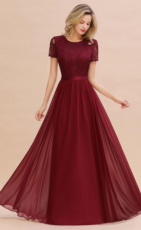 �[$1909] Burgundy Short Sleeve Bridesmaid Dress#bridesmaid
