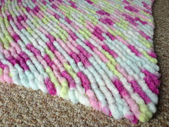 Mini Lovey Sized Pom Pom Blanket Soft and by TheCaffeinatedEwe
