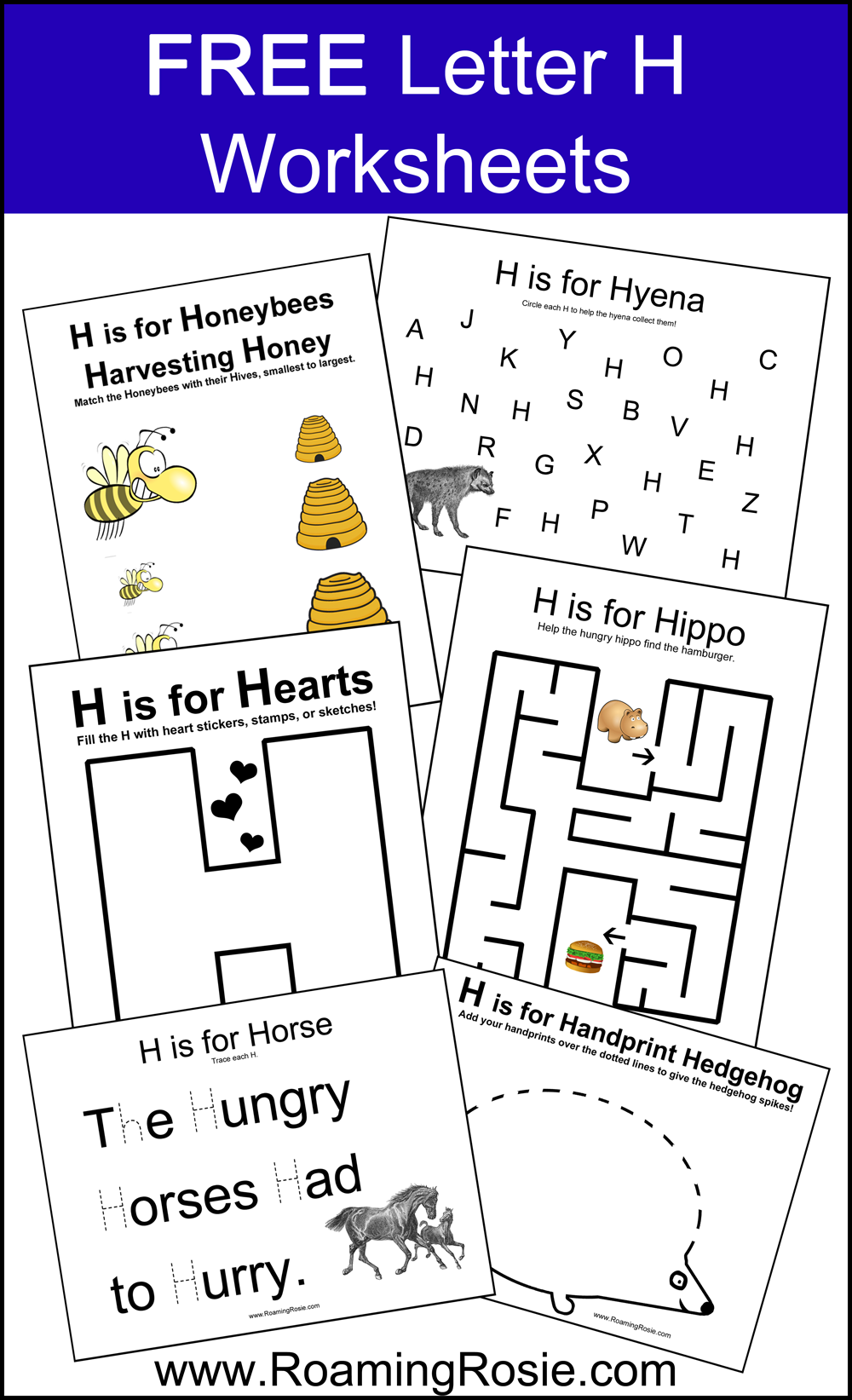 FREE Printable Letter H Alphabet Activities Worksheets from Roaming ...