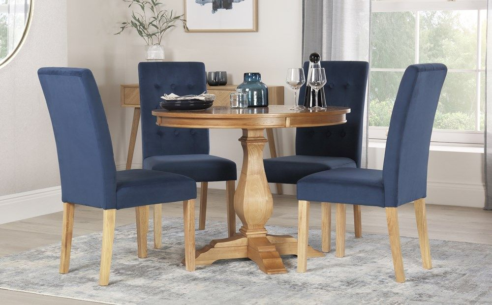Cavendish Round Oak Dining Table With 4 Regent Blue Velvet