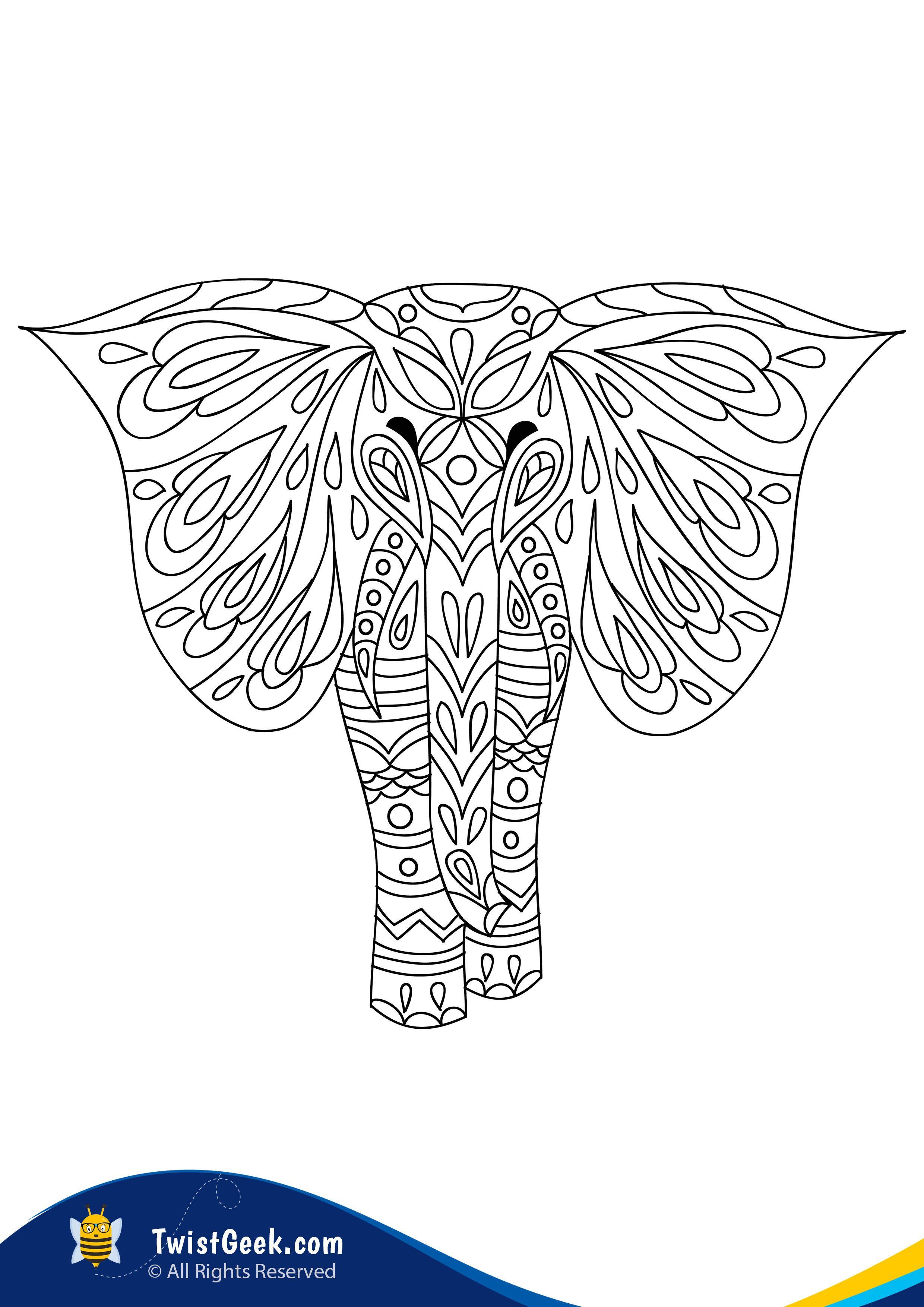 Elephant Mandala A4 Printable In