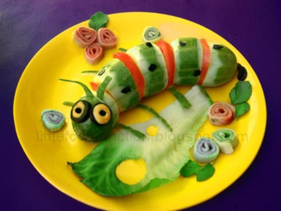 Vegetable carving for kids food caterpillar jedlo ideas pinterest