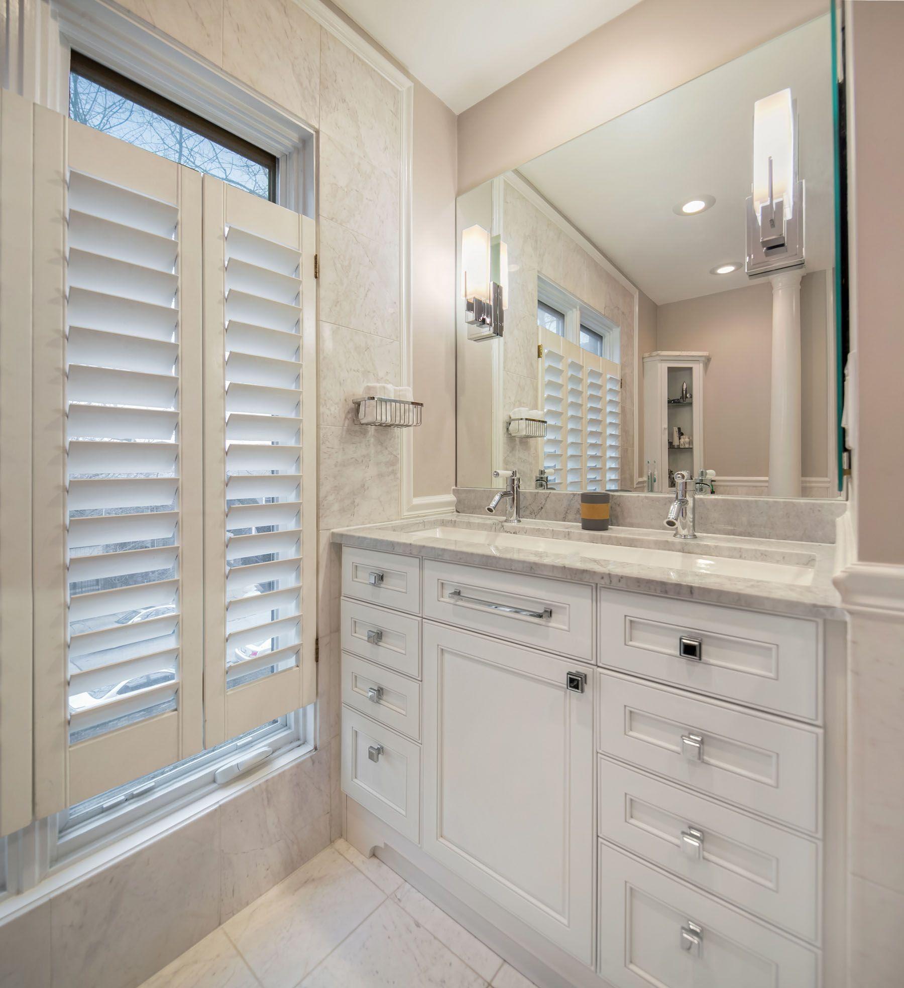 Traditional bathroom design, vanity design; interior design by ...