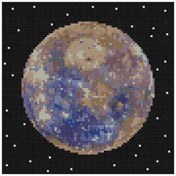 PDF Cross Stitch pattern  0056.Mercury planet  INSTANT by PIXcross
