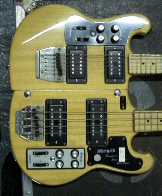 Closeup of Mike Rutherford's Shergold doubleneck.