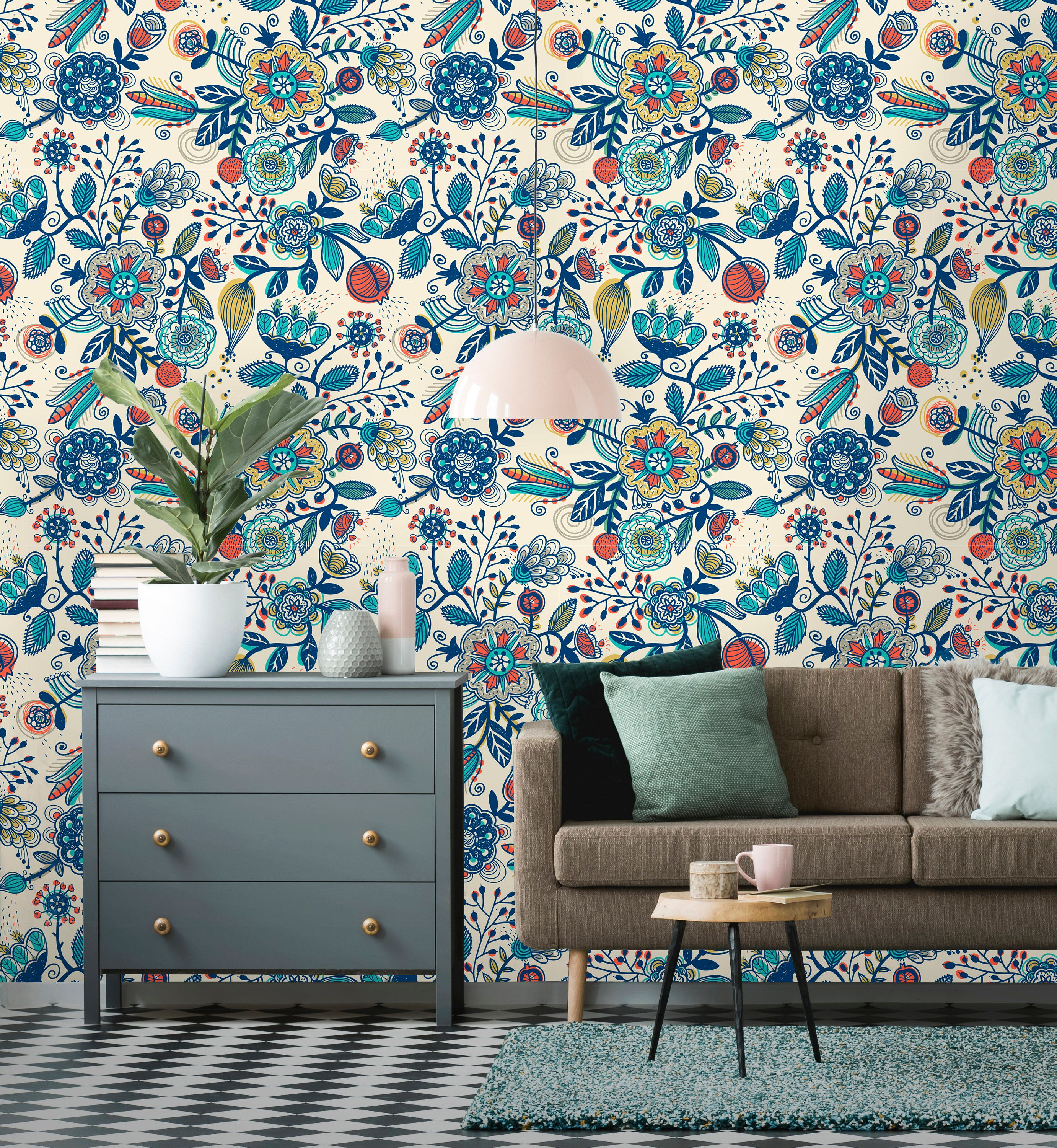 Removable Wallpaper Peel And Stick Floral Pattern Boho Etsy In 2021 Removable Wallpaper Boho Wallpaper Home Wallpaper