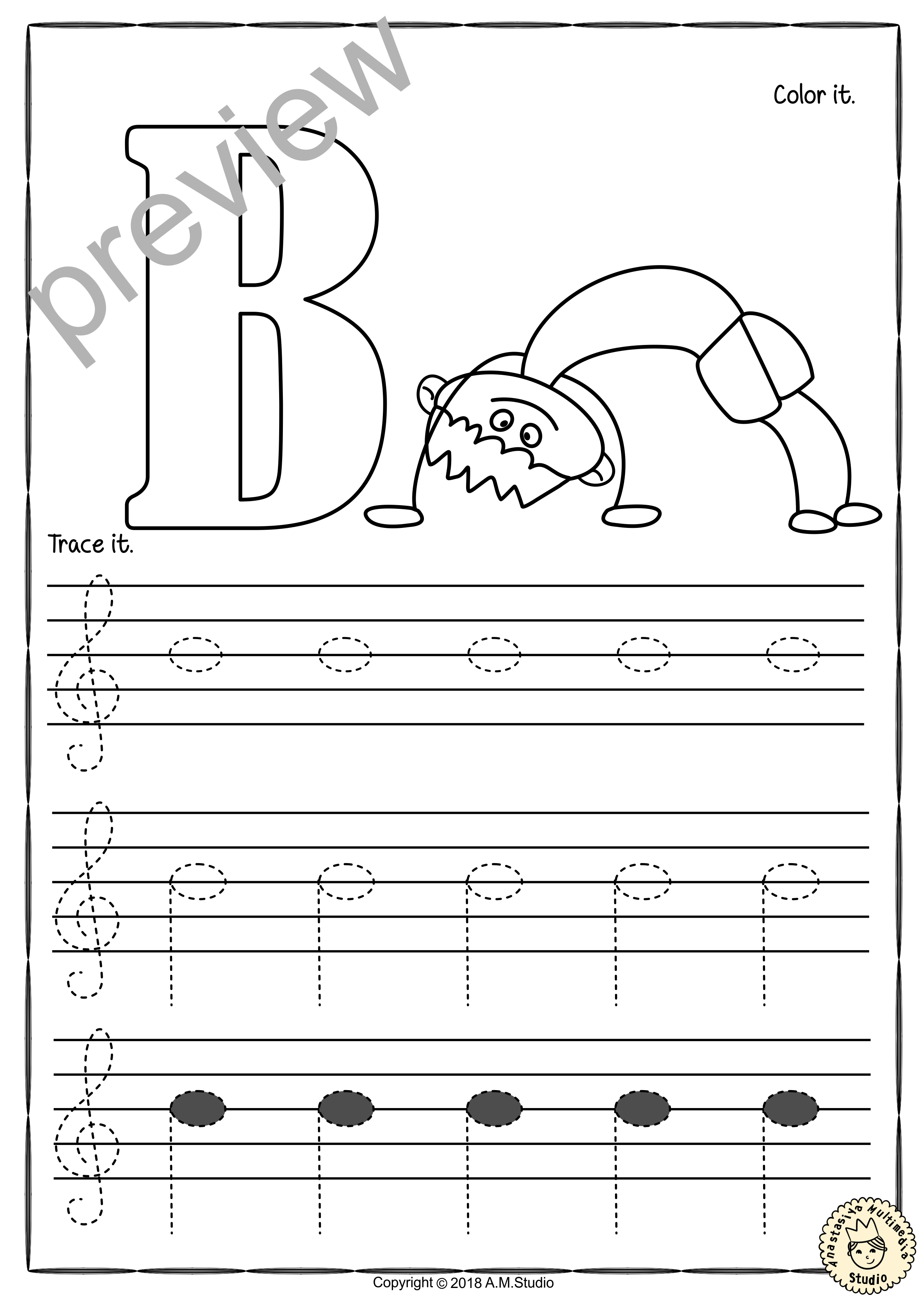 Tracing Music Notes Worksheets For Kids Treble Clef