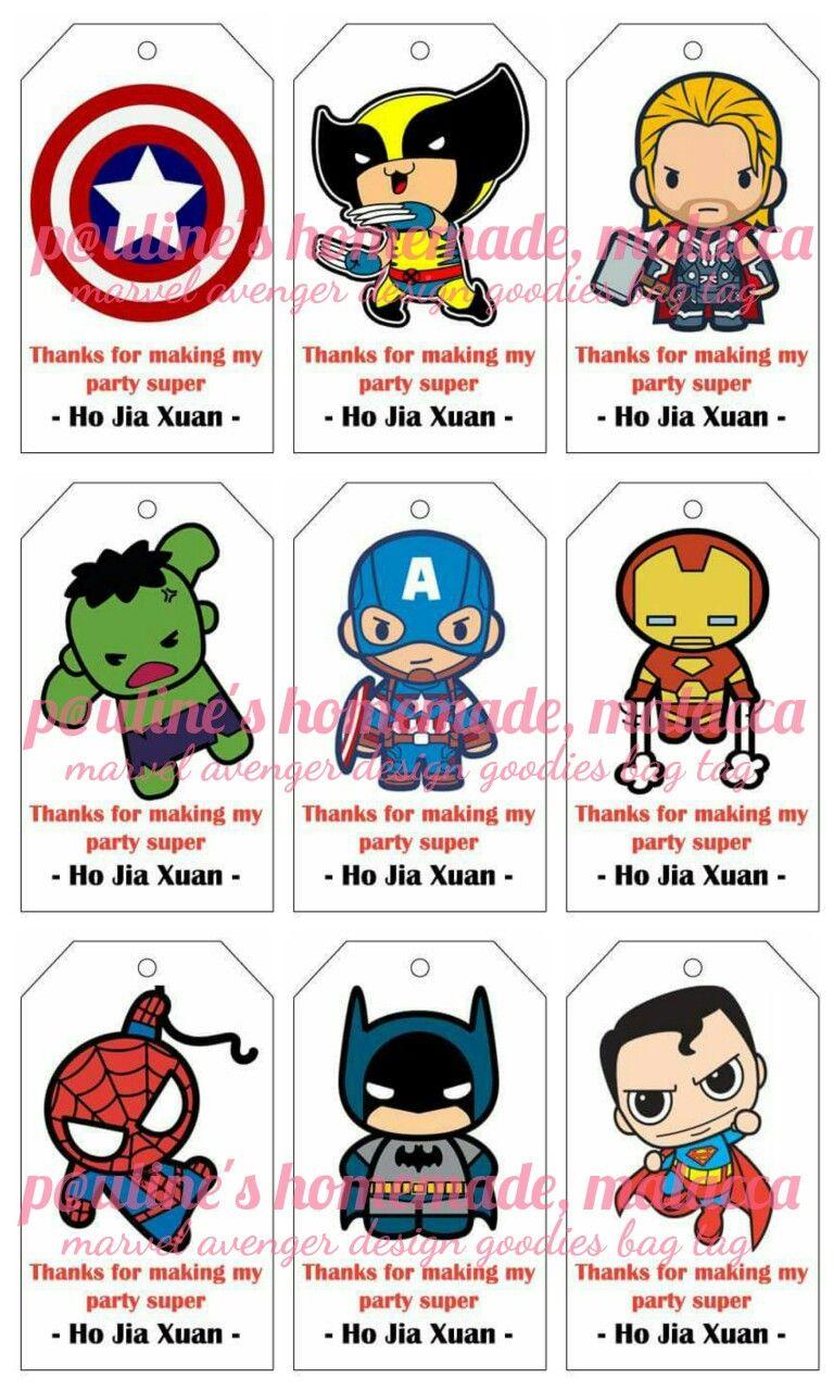 Marvel Avenger Super Hero Design Goodies Bag Tags Printable